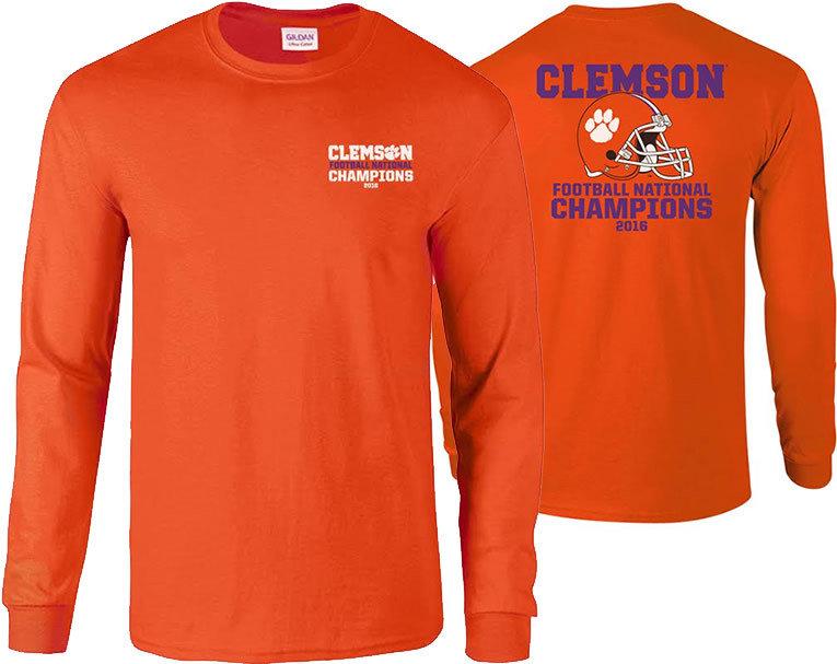 Clemson Tigers 2016 National Champions Long Sleeve TShirt Orange (2017 championship) P0007183 & P0007070