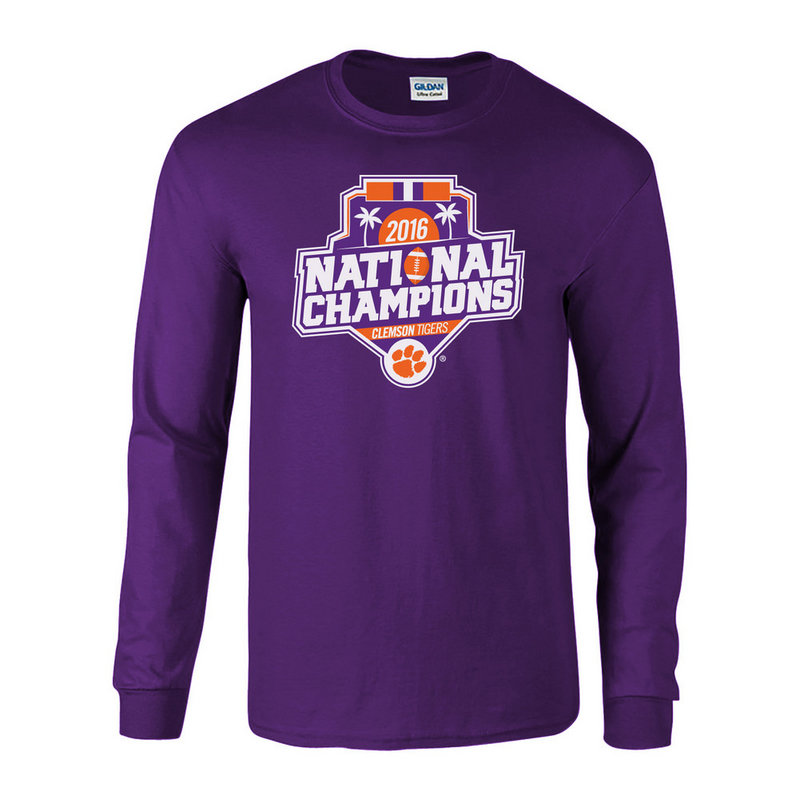 Clemson Tigers 2016 National Champions Long Sleeve TShirt Purple (2017 championship) P0007179