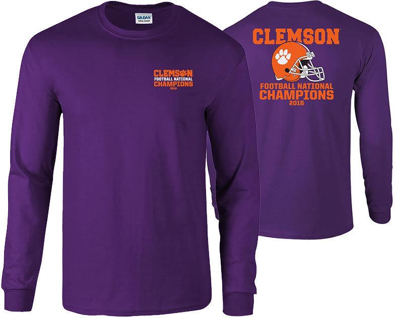 Clemson Tigers 2016 National Champions Long Sleeve TShirt Purple (2017 championship) P0007183 & P0007070