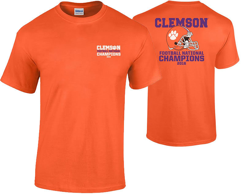 Clemson Tigers 2016 National Champions TShirt Orange (2017 championship) P0007183 & P0007070