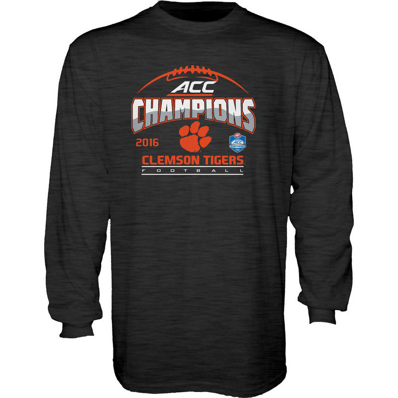 Clemson Tigers ACC Champs Long Sleeve TShirt Charcoal 2016 MEANING ACC16
