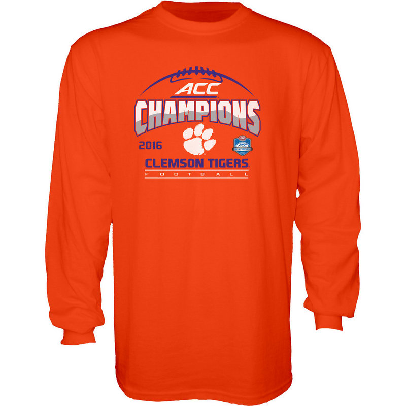 Clemson Tigers ACC Champs Long Sleeve TShirt Orange 2016 MEANING ACC16