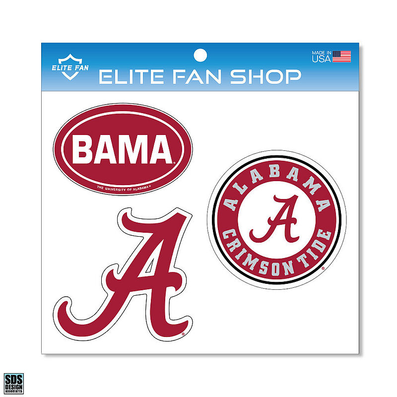 "Alabama Crimson Tide 6"" Vinyl Decal 3-Pack DAL01"