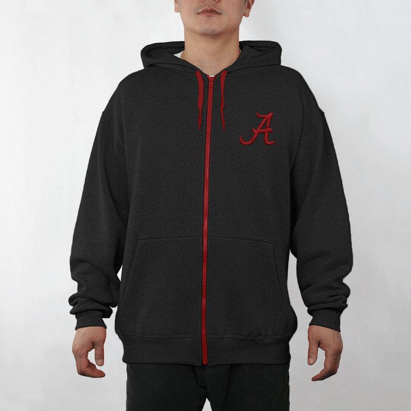 Alabama Crimson Tide Full Zip Hoodie Sweatshirt Captain Black ALA29803