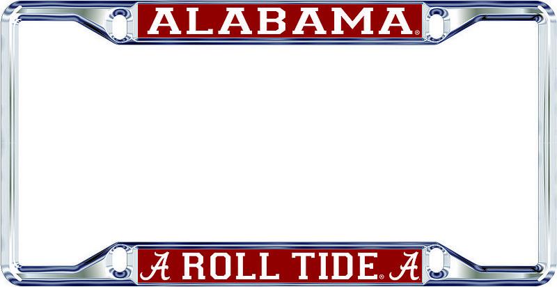 Alabama Crimson Tide License Plate Frame Silver 10933