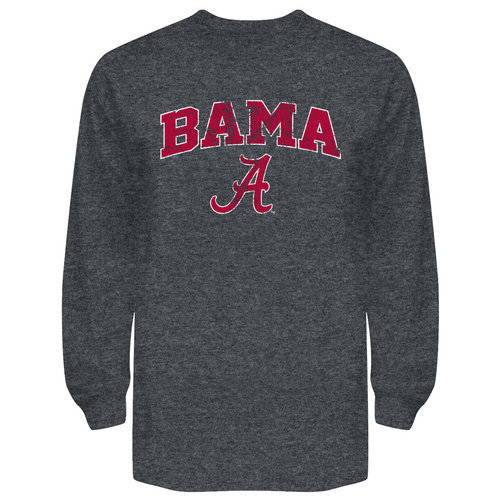 Alabama Crimson Tide Long Sleeve Shirt Charcoal Vintage