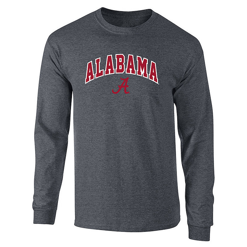 Alabama Crimson Tide Long Sleeve Tshirt Arch Over Plus Size 2X 3X 4X 5X Charcoal