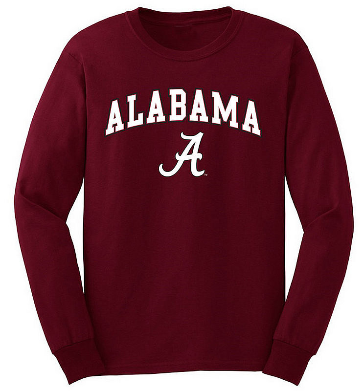 Alabama Crimson Tide Long Sleeve Tshirt Arch Over Plus Size