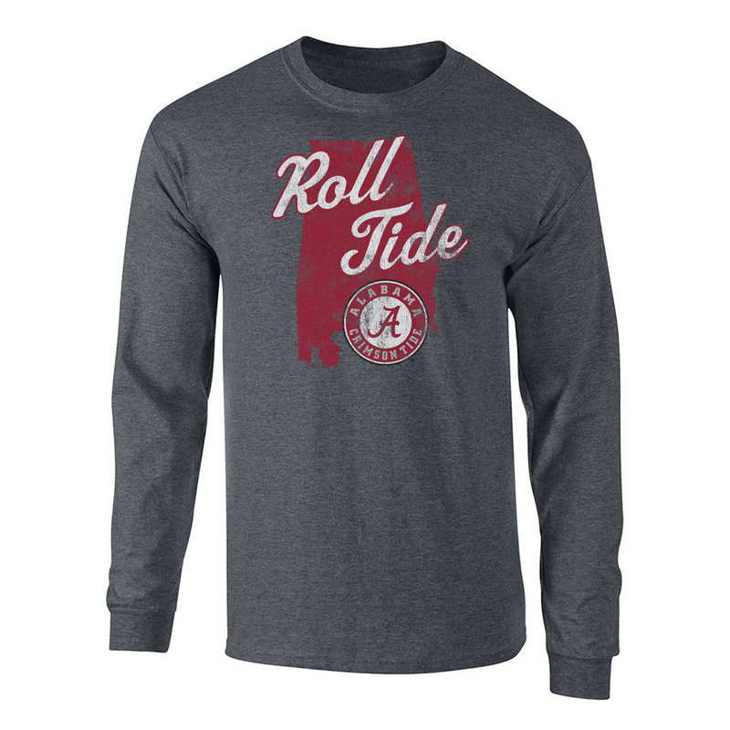Alabama Crimson Tide Long Sleeve Tshirt Charcoal P0006165/ALA525