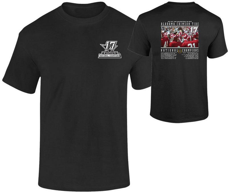 Alabama Crimson Tide National Champs Tshirt Black Recap (2017 National Championship) NCFBCHPRecap17ALA