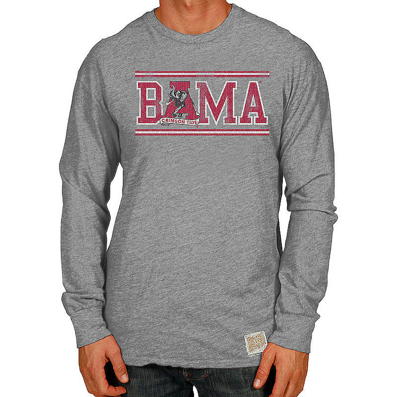 Alabama Crimson Tide Retro TriBlend Long Sleeve Tshirt Gray CALA108C_RB420A_STG