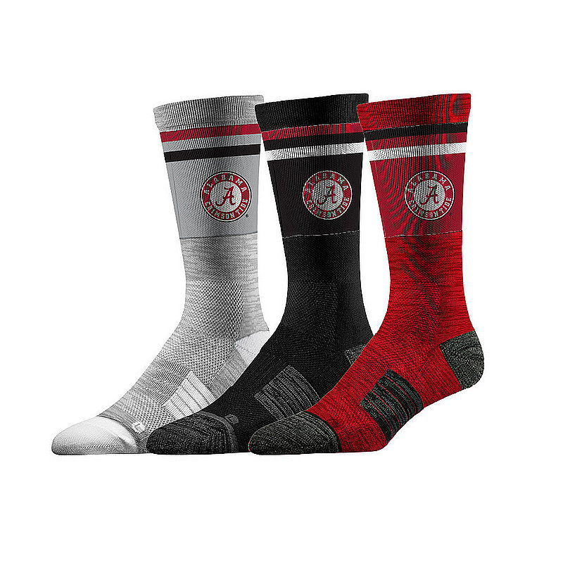 Alabama Crimson Tide Socks 3-Pack Retro Stripe