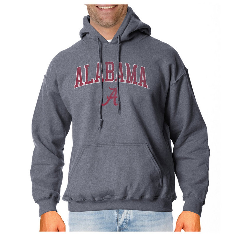 Alabama Crimson Tide Vintage Hooded Sweatshirt Charcoal Victory ALAV1412B