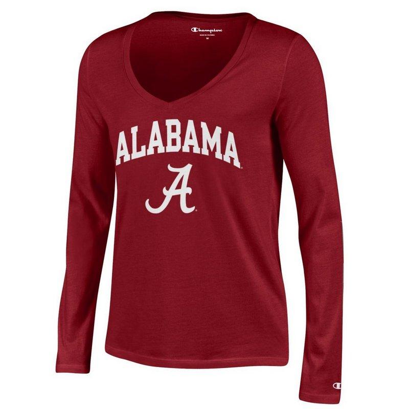 Alabama Crimson Tide Womens VNeck Long Sleeve Tshirt Cardinal APC03151559