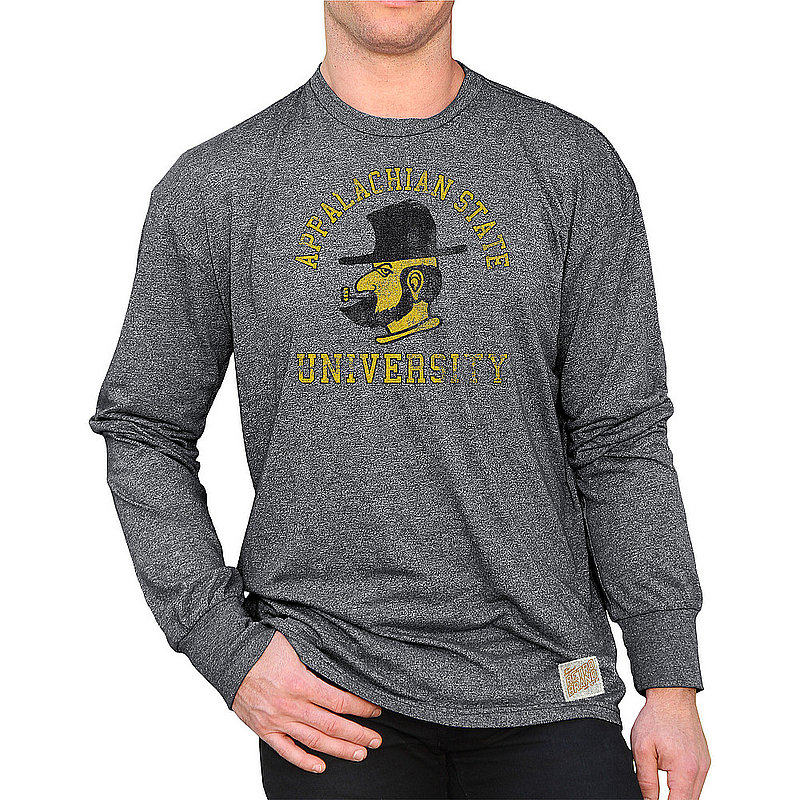 Appalachian State Mountaineers Retro Long Sleeve Tshirt Charcoal APPR1376A_RB424M_MTCH