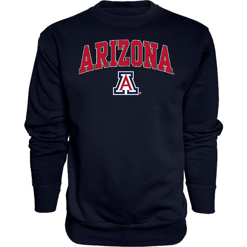 Arizona Wildcats Crewneck Sweatshirt Varsity Navy Arch Over APC02960899*
