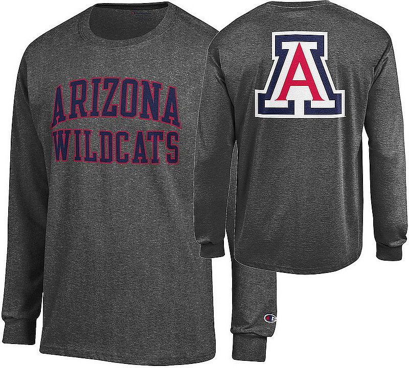Arizona Wildcats Long Sleeve TShirt Back Charcoal APC03009135/APC03009137