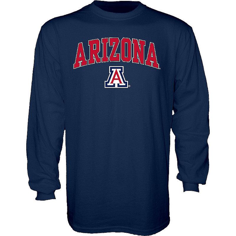 Arizona Wildcats Long Sleeve TShirt Varsity Navy Arch Over APC02960899*