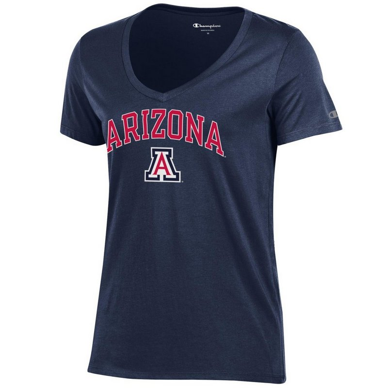 Arizona Wildcats Womens VNeck TShirt Navy Arch APC03442657