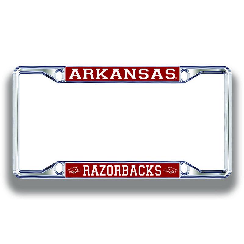 Arkansas Razorbacks License Plate Frame Silver 11276