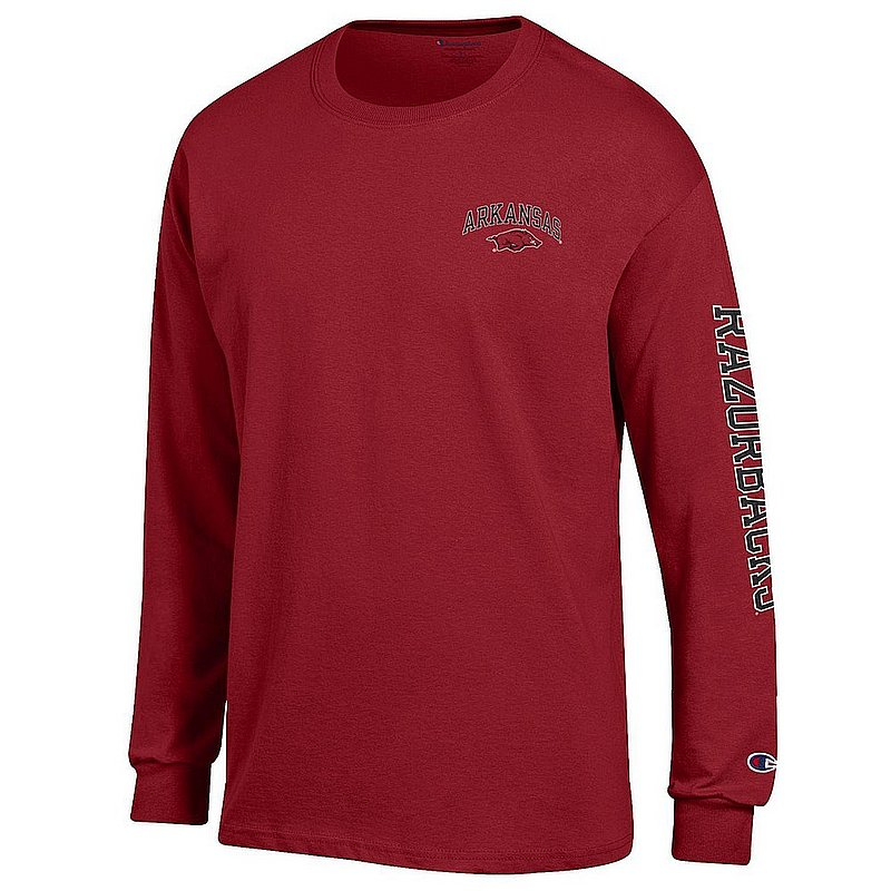 Arkansas Razorbacks Long Sleeve Tshirt Letterman Cardinal APC02974040/APC02974043