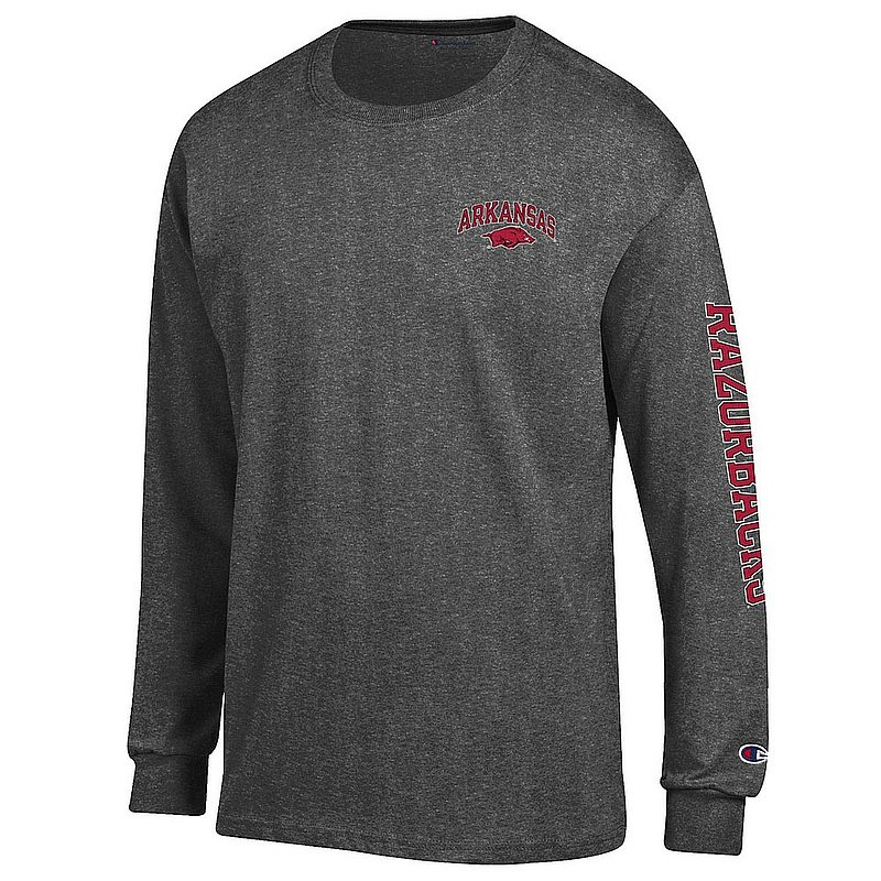Arkansas Razorbacks Long Sleeve Tshirt Letterman Charcoal APC02974044/APC02974043