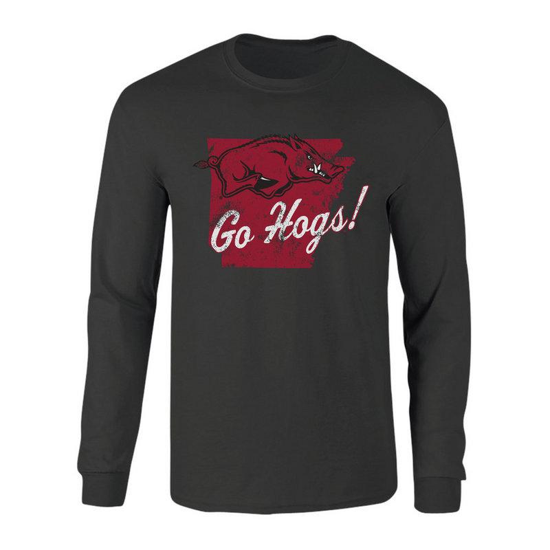 Arkansas Razorbacks Long Sleeve Tshirt Vintage Heather Gray P0006423