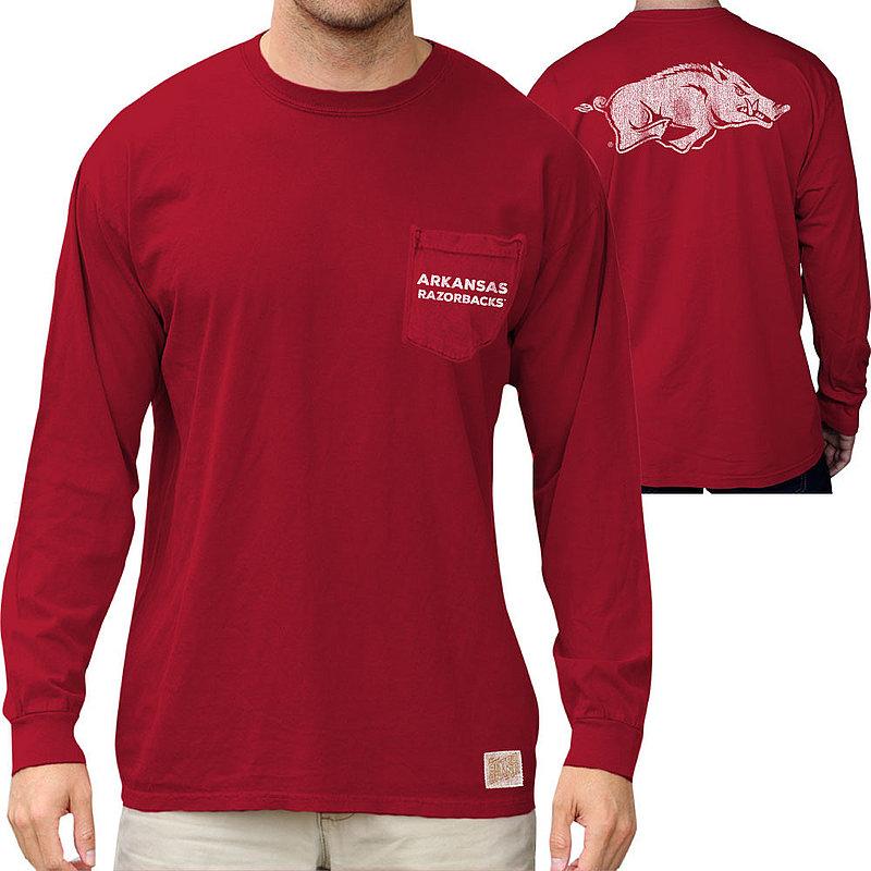 Arkansas Razorbacks Retro Pocket Long Sleeve Tshirt Cardinal RB406