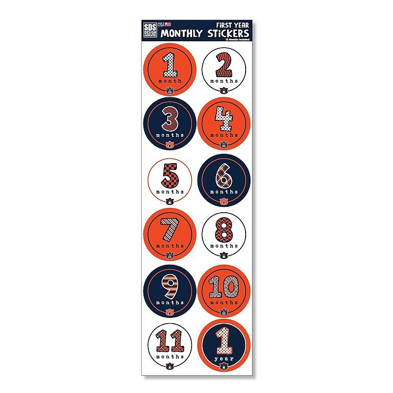 Auburn Tigers Baby's First Year Monthly Stickers