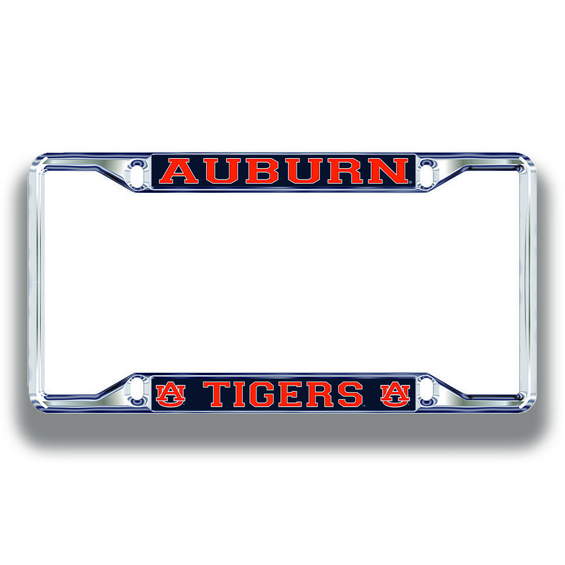 Auburn Tigers License Plate Frame Silver 12423