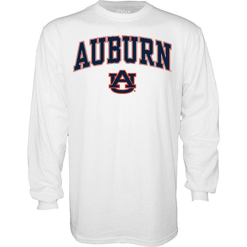 Auburn Tigers Long Sleeve TShirt Varsity White Arch Over BCR2M