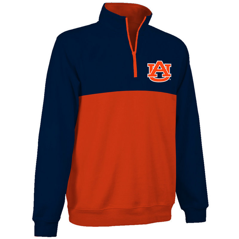 Auburn Tigers Quarter Zip Sweatshirt Navy and Orange AUB9A660