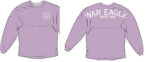 Auburn Tigers War Eagle Spirit Shirt Lavender