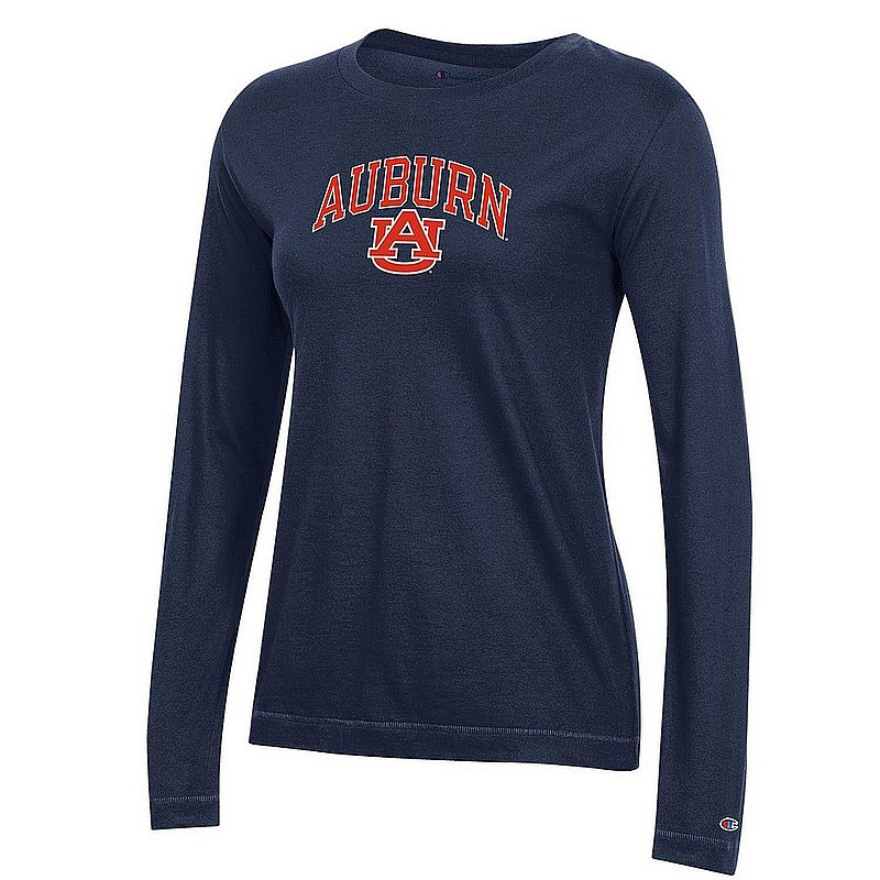 Auburn Tigers Womens VNeck Long Sleeve Tshirt Navy APC03151284