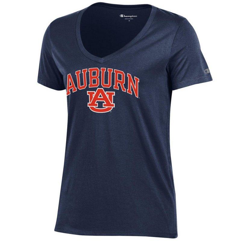 Auburn Tigers Womens VNeck TShirt Navy APC03151284
