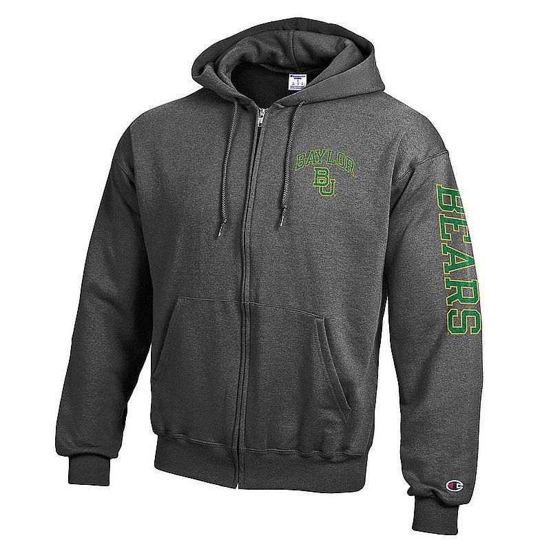 Baylor Bears Full Zip Hooded Sweatshirt Letterman Charcoal APC02973682/APC02973685