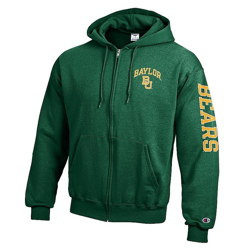 Baylor Bears Full Zip Hooded Sweatshirt Letterman Green APC02973682/APC02973685