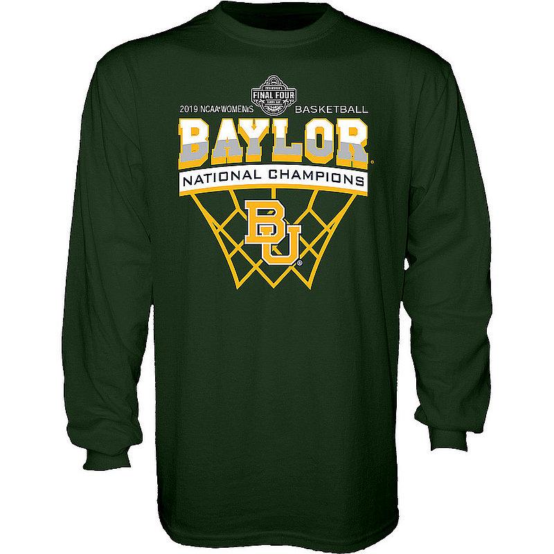 Baylor Bears National Basketball Championship Long Sleeve Tshirt 2019 Net Green Scratchy