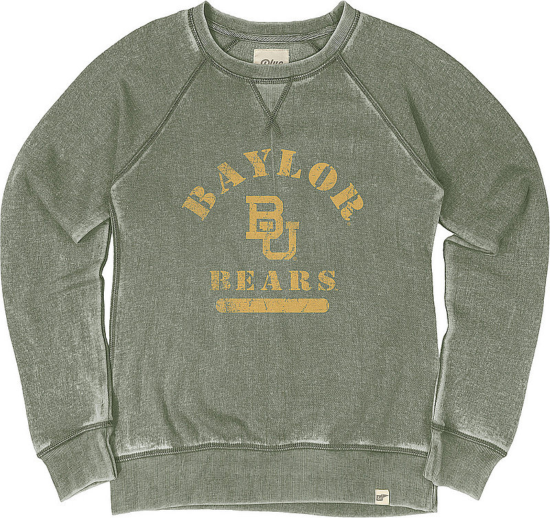Baylor Bears Womens Burnout Crewneck Sweatshirt Vintage BH7BG_JBWFC_WOODLND