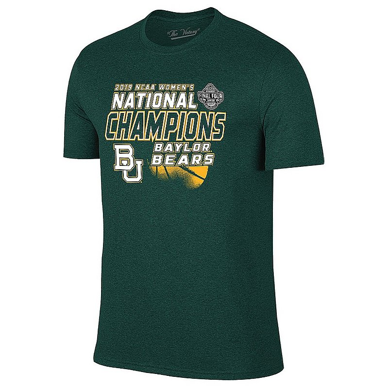 Baylor Bears Womens National Basketball Championship Tshirt 2019 Heather Green 8022A