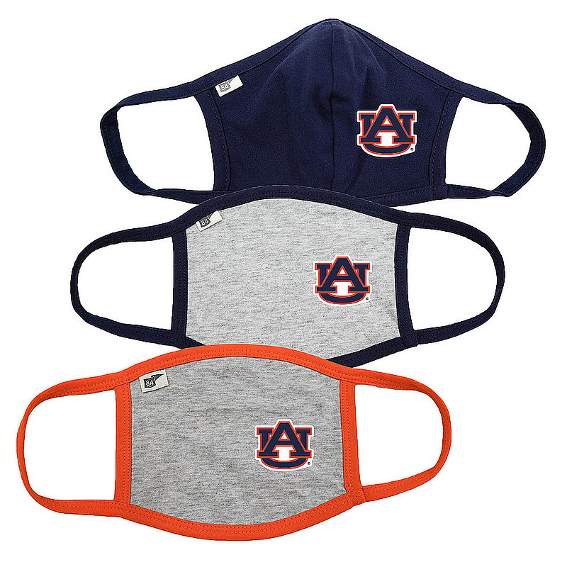 Blue 84 Auburn Tigers Face Covering 3 Pack Gray 00000000BR7B6 00000000BC46M 00000000BC46M (Blue 84)
