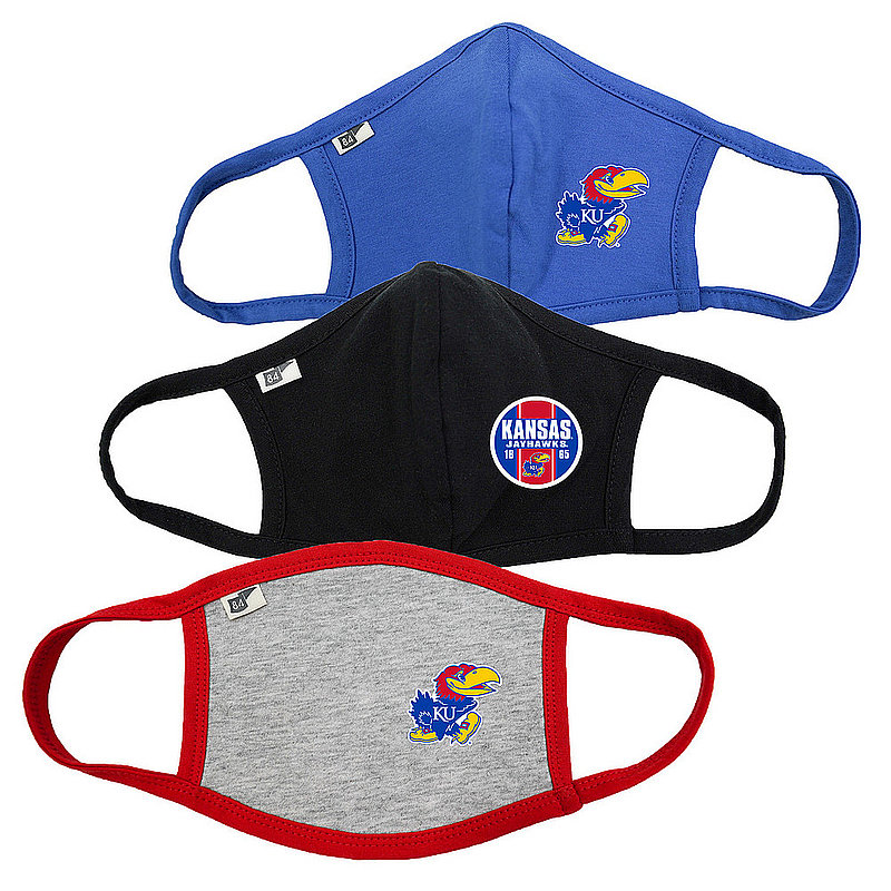 Blue 84 Kansas Jayhawks Face Covering 3 Pack 00000000BC4DX 00000000BCPT4 00000000BC4DD (Blue 84)