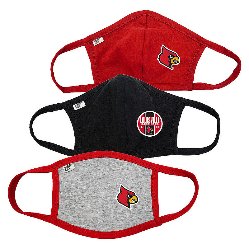 Blue 84 Louisville Cardinals Face Covering 3 Pack 00000000BC4SS 00000000BCRB8 00000000BCPG6 (Blue 84)