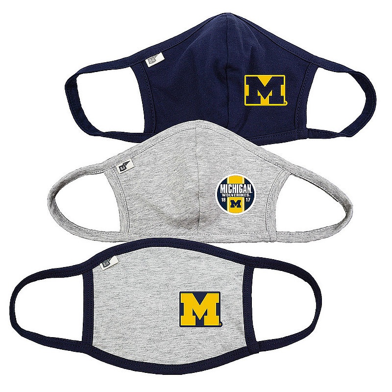 Blue 84 Michigan Wolverines Face Covering 3 Pack 00000000BC44R 00000000BC353 00000000BC446 (Blue 84)