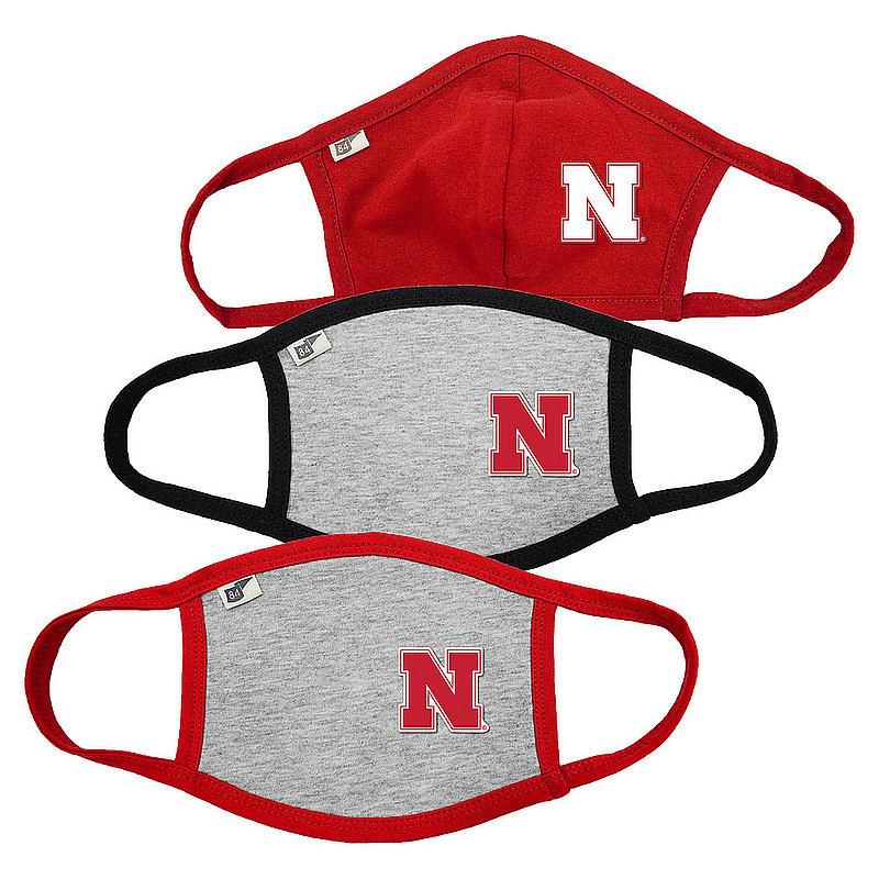 Nebraska Cornhuskers Face Covering 3 Pack Gray