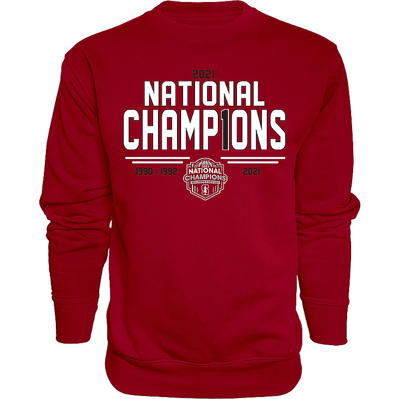 Blue 84 Stanford Cardinal Womens National Basketball Championship Crewneck Sweatshirt 2021 Number 1 00000000BX4BT (Blue 84)