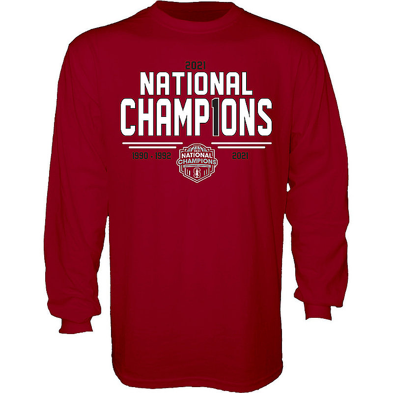 Blue 84 Stanford Cardinal Womens National Basketball Championship Long Sleeve T-Shirt 2021 Number 1 00000000BX4BT (Blue 84)