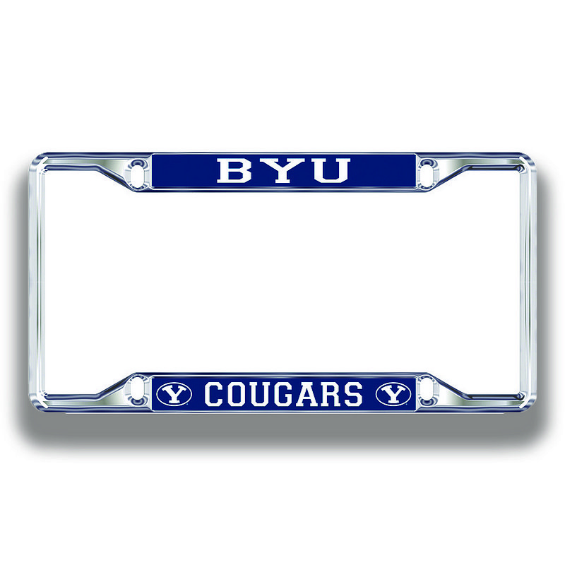 BYU Cougars License Plate Frame Silver 45897
