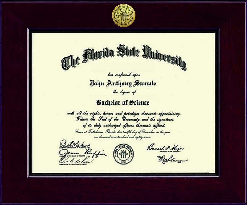 Florida State University Diploma Frame Cordova Dsch
