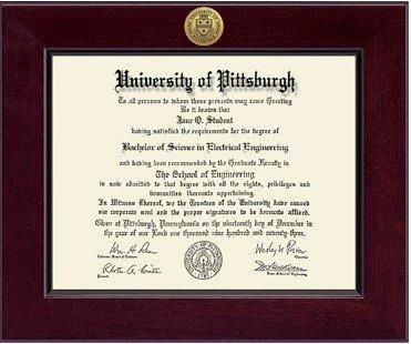 Classic Frames University Of Pittsburgh Diploma Frame Century Engraved Gold Cordova 222520 PITT (Classic Frames)